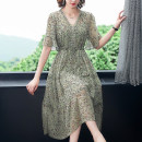 Dress Summer 2021 Decor S M L XL 2XL 3XL 4XL 5XL Mid length dress singleton  Short sleeve V-neck routine 35-39 years old Mu Yixin XBH9302 More than 95% other other Other 100% Pure e-commerce (online only)