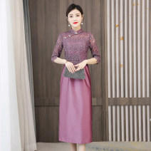Dress / evening wear Wedding routine XXL XXXL M L XL 4XL violet grace Medium length middle-waisted Summer 2021 other stand collar zipper 36 and above Embroidery Solid color Mu Yixin routine Other 100% Pure e-commerce (online only) 81% (inclusive) - 90% (inclusive) machine embroidery