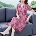 Dress Summer 2021 Pink L XL 2XL 3XL 4XL 5XL longuette singleton  Short sleeve commute V-neck middle-waisted Decor Socket A-line skirt routine 40-49 years old Type A Mu Yixin lady Button More than 95% other Other 100% Pure e-commerce (online only)