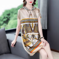 Dress Summer 2021 Champagne black S M L XL 2XL 3XL longuette singleton  Short sleeve commute Hood Loose waist Animal design Socket other routine Others 35-39 years old Type H Mu Yixin lady printing NEJ5339 More than 95% other Other 100% Pure e-commerce (online only)