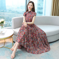 Dress Summer 2021 Apricot red M L XL 2XL 3XL longuette Short sleeve commute middle-waisted Decor Socket Big swing routine Others 30-34 years old Mu Yixin lady NRJ3115 More than 95% Chiffon other Other 100% Pure e-commerce (online only)