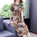 Dress Summer 2021 yellow L XL 2XL 3XL 4XL 5XL Mid length dress singleton  Short sleeve commute Crew neck routine 40-49 years old Mu Yixin lady printing More than 95% other other Other 100% Pure e-commerce (online only)