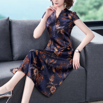 Dress Summer 2021 Picture color M L XL 2XL 3XL 4XL longuette singleton  Short sleeve commute V-neck middle-waisted Decor Socket A-line skirt routine 35-39 years old Mu Yixin Retro Splicing More than 95% other Other 100% Pure e-commerce (online only)