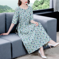 Dress Summer 2021 Red wave point green wave point L XL 2XL 3XL 4XL 5XL longuette singleton  Long sleeves commute middle-waisted Decor Socket A-line skirt routine 40-49 years old Type A Mu Yixin lady Button XBH1582# More than 95% other Other 100% Pure e-commerce (online only)