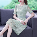 Dress Summer 2021 green S M L XL 2XL Middle-skirt singleton  Short sleeve commute Crew neck middle-waisted Solid color zipper A-line skirt routine 35-39 years old Type A Mu Yixin Ol style XBH8265 More than 95% Lace other Other 100% Pure e-commerce (online only)