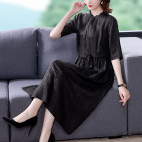 Dress Summer 2021 black L XL 2XL 3XL Mid length dress singleton  elbow sleeve commute middle-waisted Solid color zipper other other 40-49 years old Type A Mu Yixin lady Three dimensional decoration NEJ2106 More than 95% other Other 100% Pure e-commerce (online only)