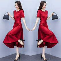 Dress Summer 2021 Mid length dress singleton  Short sleeve commute Crew neck High waist Solid color A-line skirt routine Others 35-39 years old Type A Mu Yixin Simplicity Button XBH7159 More than 95% Silk and satin other Other 100% Pure e-commerce (online sales only) M L XL 2XL 3XL Red blue
