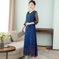 Dress Summer 2021 navy blue M L XL 2XL 3XL longuette singleton  three quarter sleeve commute V-neck Loose waist Solid color Socket A-line skirt routine Others 35-39 years old Type A Mu Yixin lady NEJ7008 More than 95% other other Other 100% Pure e-commerce (online only)