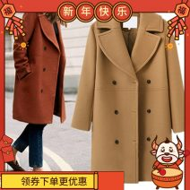 woolen coat Winter 2020 S,XL,L,M other 81% (inclusive) - 90% (inclusive) Medium length Long sleeves commute double-breasted tailored collar Solid color 25-29 years old Solid color