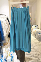 skirt Spring 2021 S,M,L,XL Blue, green, black Mid length dress commute Natural waist Pleated skirt Solid color Type A 18-24 years old 51% (inclusive) - 70% (inclusive) other other Korean version