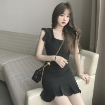 Women's large Summer 2021 Black skirt S, M singleton  commute moderate Short sleeve Solid color Retro square neck other Three dimensional cutting Flying sleeve 18-24 years old backless 81% (inclusive) - 90% (inclusive) Short skirt Ruffle Skirt Lotus leaf edge zipper