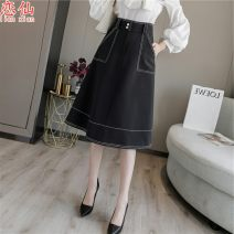 skirt Winter of 2019 S,M,L,XL Black, light apricot Mid length dress Versatile High waist A-line skirt Solid color Type A 18-24 years old sJitO More than 95% other Other / other polyester fiber Pockets, buttons, thread trim