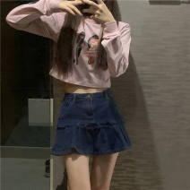 skirt Spring 2021 S M L XL 2XL Blue light blue (four button design) pink apricot Short skirt commute High waist A-line skirt Solid color 18-24 years old 3.15 - no More than 95% Denim Korangi (costume) other zipper Other 100%