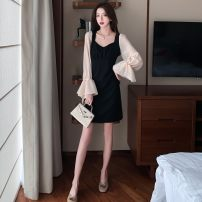 Dress Autumn 2020 black S,M,L,XL,2XL,3XL,4XL singleton  Long sleeves commute square neck Solid color pagoda sleeve 18-24 years old Other Ol style 31% (inclusive) - 50% (inclusive)