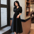 Women's large Summer 2021 Dark green black S M L XL singleton  commute Short sleeve Solid color Korean version V-neck routine QZ19 Neon goods 25-29 years old longuette Other 100% Pure e-commerce (online only)