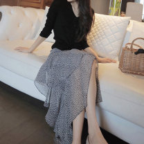 skirt Summer 2021 S M L XL XS Black and white flowers Mid length dress commute High waist Ruffle Skirt Broken flowers Type A 18-24 years old 21HY31 More than 95% Chiffon The secret of Hua Yan other Back half elastic waist and side zipper printed with asymmetrical stitching of ruffles Retro Other 100%