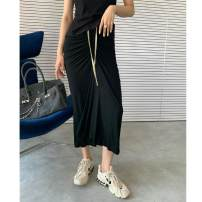 skirt Summer 2020 S,M,L Black - medium and long in stock, black - short in stock Mid length dress street Natural waist other Solid color Type H 25-29 years old More than 95% cotton