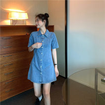 Dress Summer 2021 Picture color S M L Middle-skirt singleton  Short sleeve commute Polo collar High waist Solid color Single breasted A-line skirt routine Others 18-24 years old Type A Xuan Zixin Korean version Make old buttons 627627# More than 95% Denim other Other 100%