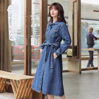 Dress Autumn 2020 blue S M L Mid length dress singleton  Long sleeves commute Polo collar High waist Solid color Single breasted A-line skirt routine Others 18-24 years old Type A Xuan Zixin Korean version Pocket panel button LRWP15597 More than 95% Denim other Other 100%