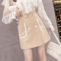 skirt Spring 2021 S,M,L,XL Khaki, light green, black Short skirt Versatile High waist A-line skirt Solid color Type A 18-24 years old MM 31% (inclusive) - 50% (inclusive) other cotton