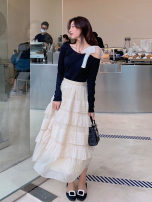 skirt Spring 2021 S M L Skirt top Mid length dress commute High waist A-line skirt Solid color Type A 18-24 years old ASDFSA36936 More than 95% Zhenliu other Three dimensional decoration Korean version Other 100% Pure e-commerce (online only)