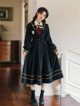 Dress Spring 2021 Regular shirt with tie, plush shirt with tie, black JK dress S,M,L,XL Mid length dress Long sleeves commute Admiral High waist Pleated skirt shirt sleeve 18-24 years old Type A Retro Embroidery, zipper 51% (inclusive) - 70% (inclusive)
