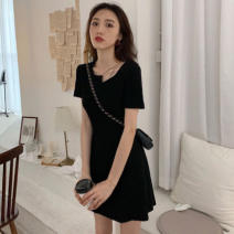 Women's large Summer 2021 Gray, black Large L, large XL, s, M Dress singleton  commute Socket Short sleeve Solid color Korean version routine 18-24 years old 51% (inclusive) - 70% (inclusive) Short skirt