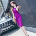 Dress Summer 2021 violet S,M,L Mid length dress singleton  Sleeveless commute Crew neck High waist Solid color zipper One pace skirt routine Others 25-29 years old Type H Korean version Ruffles, zippers 81% (inclusive) - 90% (inclusive) brocade polyester fiber