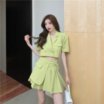 Women's large Summer 2021 Green, black Below S80 kg, m80-100 kg, l100-115 kg Two piece set commute Self cultivation Short sleeve Retro have cash less than that is registered in the accounts 18-24 years old Short skirt