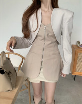Wool knitwear Autumn 2020 S M L Suit coat, bra, short skirt, leather skirt Long sleeves Three piece set Cardigan other More than 95% Regular thick commute easy other routine Solid color zipper Korean version 18-24 years old Chaoyayan Triacetate fiber (triacetate fiber) 100%