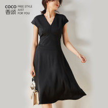 Dress Summer 2021 Black, champagne S,M,L longuette Two piece set Short sleeve commute V-neck High waist Solid color Socket A-line skirt Sleeve Others 30-34 years old Type H Coco ode Simplicity Lotus leaf edge C2131 More than 95% other Cellulose acetate
