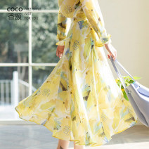 skirt Spring 2021 S,M,L Yellow, pink longuette Retro Irregular 25-29 years old C2181 MARIE. COCO printing