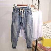 Jeans Winter 2016 wathet 3XL [160-180 Jin], 2XL [140-160 Jin], m [100-110 Jin], XL [120-140 Jin], 4XL [180-200 Jin], l [110-120 Jin] Ninth pants High waist Haren pants 81% (inclusive) - 90% (inclusive)