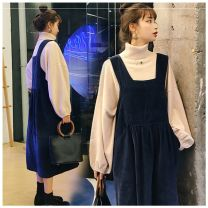 Women's large Winter 2020 Two piece suit with top and skirt It is recommended to [135-150 kg] and [135-150 kg] should be recommended Other oversize styles Two piece set commute easy moderate Socket Long sleeves Solid color Korean version High collar routine Three dimensional cutting Ft-20x9 Other