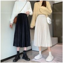 skirt Winter 2020 XS,S,M,L Apricot, grey, black Mid length dress commute High waist A-line skirt Solid color Type A 18-24 years old 81% (inclusive) - 90% (inclusive) other other Korean version