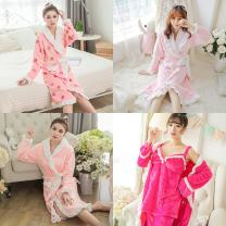 Nightgown / bathrobe Other / other female M,L,XL 6041 white lace light pink, wydz6041 lace green Nightgown, 6041 lace pink strawberry, 6041 lace pink dots, 6041 all pink, 6041 orange pink, 6041 all blue, 1610 grass green three piece suit, wydz6041 purple dots lace nightgown routine Sweet autumn youth