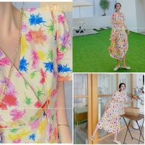 Dress Summer 2020 Picture decor-k88 S, M longuette singleton  Short sleeve commute V-neck High waist Decor zipper Big swing routine 18-24 years old Type A Other Korean version Frenulum 9CC63F060 81% (inclusive) - 90% (inclusive) cotton