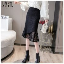 skirt Winter 2020 S,M,L,XL black Mid length dress commute High waist A-line skirt Solid color Type A 18-24 years old 2020HMDZ0043 More than 95% Halmun other Pleating, pleating, stitching, lace Korean version