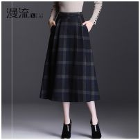 skirt Winter 2020 27 / m two feet, 28 / L two feet one, 29 / XL two feet two, 30 / 2XL two feet three, 31 / 3XL two feet four, 32 / 4XL two feet five lattice Mid length dress commute High waist A-line skirt lattice Type A 40-49 years old ML20C574 Wool Overflow Fold, pocket, rust treatment