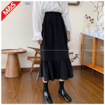 skirt Autumn 2020 Average size black Mid length dress commute High waist A-line skirt Solid color Type A 18-24 years old 30% and below other other Korean version