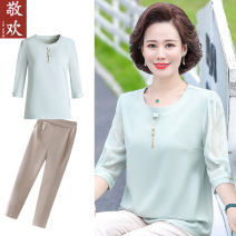 Middle aged and old women's wear Summer 2021 fashion T-shirt easy singleton  Solid color 40-49 years old Socket thin Crew neck routine routine Jinghuan polyester Polyester 100% 96% and above Pure e-commerce (online only) 3 / 5 sleeve