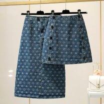 skirt Spring 2021 S M L XL XXL Blue medium long blue short Mid length dress High waist High waist skirt other More than 95% Denim Structure number other Other 100% Pure e-commerce (online only)