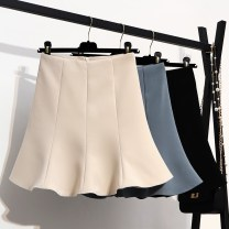 skirt Summer 2021 S M L XL Black apricot blue Short skirt commute High waist Ruffle Skirt Solid color Type A 18-24 years old DQ8831 More than 95% other Structure number other Splicing waves Korean version Other 100%