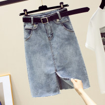skirt Spring 2021 S M L XL blue Mid length dress commute High waist A-line skirt Solid color Type A More than 95% Denim Structure number other Korean version Other 100%