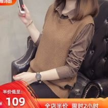 Women's large Winter 2020 [black] (Korean women's clothing, Japanese style, [camel color] (this year's popular new products, fashionable and high-end, [gray] (slightly fat sister, girls wear with shade, black, camel color, gray sweater Fake two pieces commute easy moderate Socket Long sleeves lattice