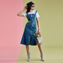 Dress Spring of 2019 Light blue 690 XS,S,M,L,XL singleton  Sleeveless street One word collar middle-waisted Solid color zipper One pace skirt routine straps 25-29 years old Ochirly / Ou Shili 1ZY1082500