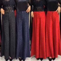 Casual pants Black leaves 9807 # zipper-171, green leaves 9807 # zipper-632, red leaves 9807 # zipper-06f, blue leaves 9807 # zipper-069, red lace 9819 # zipper-8x9, blue lace 9819 # zipper-u3r Autumn 2020 trousers High waist routine 2817 skirt pants silk silk