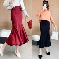 skirt Spring 2021 [skirt length 80 cm], [skirt length 90 cm] Black, Burgundy, grey, Navy, scarlet longuette commute High waist skirt Solid color Type A 25-29 years old knitting Lotus leaf edge Korean version
