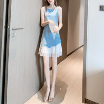 Dress Summer 2021 Yellow, blue, light blue S,M,L,XL longuette singleton  Sleeveless commute Crew neck High waist Solid color Socket A-line skirt 25-29 years old Type A Splicing other