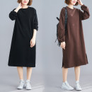 Dress Winter of 2019 Khaki, black Loose one size fits all singleton  Long sleeves commute Crew neck middle-waisted Solid color Socket Irregular skirt bishop sleeve Type A Other / other literature 71% (inclusive) - 80% (inclusive) other cotton